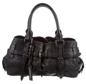 Burberry Buckle Accented Leather Tote - BLACK - STYLE