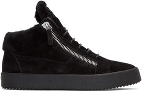 Giuseppe Zanotti Black Shearling May London High-Top Sneakers