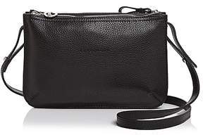 Longchamp Le Foulonne Double Zip Small Leather Crossbody - BLACK/SILVER - STYLE