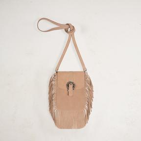 Maje Suede shoulder bag with fringes