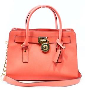 Michael Kors Pink Grapefruit Saffiano Hamilton Satchel Bag Purse - PINKS - STYLE