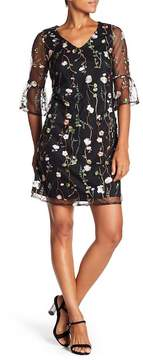Spense Flounce Embroidered Floral Mesh Dress