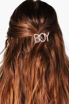 boohoo Tegan Boy Slogan Hairclip