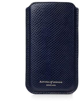 Aspinal of London Iphone 6 / 7 Leather Sleeve In Midnight Blue Lizard Cream Suede