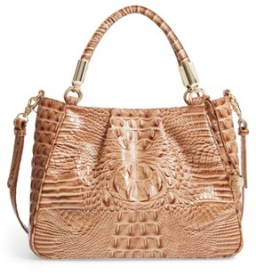 Brahmin Ruby Croc Embossed Leather Satchel - Brown