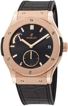 Hublot Classic Fusion King Gold Black Dial Black Leather Band 18 Carat Rose Gold Case Men's Watch
