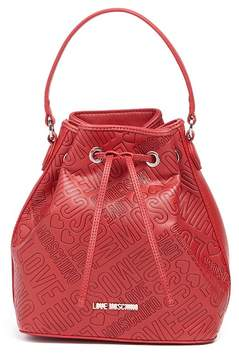 Love Moschino Embossed Logo PU Leather Bucket Bag