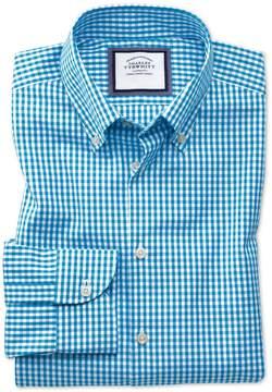 Charles Tyrwhitt Extra Slim Fit Button-Down Business Casual Non-Iron Aqua Blue Cotton Dress Shirt Single Cuff Size 15.5/34