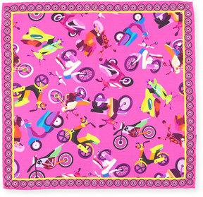 Bugatchi Moped Pattern Silk Pocket Square
