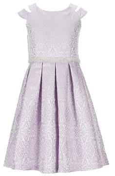 Bonnie Jean Little Girls 2T-6X Metallic Jacquard Fit-And-Flare Dress