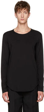 Attachment Black Long Sleeve Cotton T-Shirt