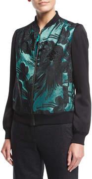 Trina Turk Brocade Jacquard Zip-Front Bomber Jacket
