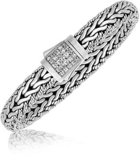 Ice Sterling Silver Braided Design Men's Bracelet with White Sapphire Stones
