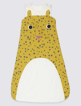 Marks and Spencer Pure Cotton 2.2 Tog Cheeky Cheetah Sleeping Bag