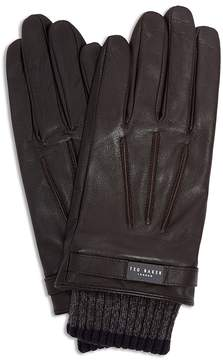 Ted Baker Ribbed Knit Cuff Leather Gloves