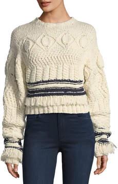 Derek Lam Fringed Cable-Knit Crewneck Sweater
