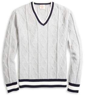 Brooks Brothers Red Fleece Tennis V-Neck Cotton Sweater