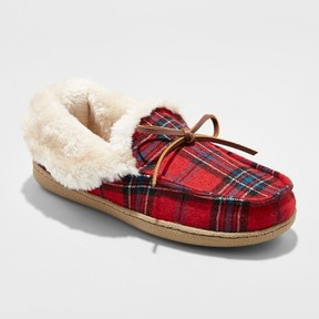 Mossimo Women's Rain Plaid Moccasin Slippers Red