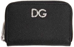 Dolce & Gabbana Black Crystal Logo Zip Card Holder
