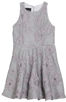 Un Deux Trois Girl's Flocked Jacquard Skater Dress