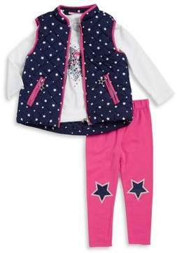 Flapdoodles Little Girl's Three-Piece Star Vest, Tee and Leggings Set