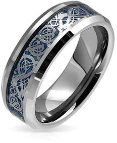 Dragon Optical Bling Jewelry Celtic Blue Inlay Tungsten Wedding Ring 8mm.