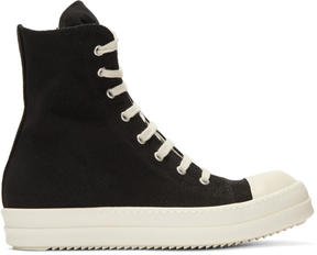 Rick Owens Black Canvas Cap Toe High-Top Sneakers