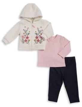 Little Me Baby Girl's Three-Piece Hoodie, Top and Leggings Set