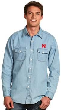 Antigua Men's Nebraska Cornhuskers Chambray Button-Down Shirt
