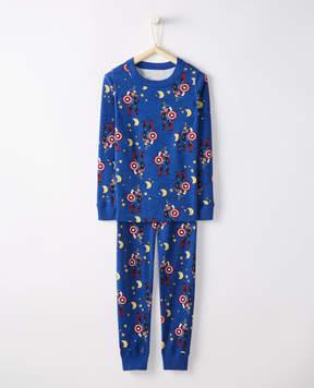 Hanna Andersson Marvel Captain America Long John Pajamas In Organic Cotton