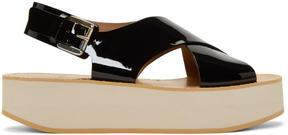 Flamingos Black Patent Malabar Sandals