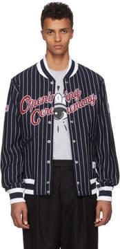 Opening Ceremony Navy Collegiate Logo Bomber Jacket