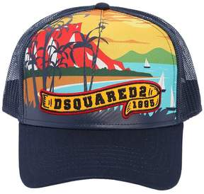 DSQUARED2 Beach Printed Canvas & Mesh Trucker Hat