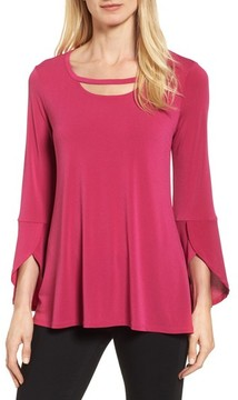 Chaus Women's Bell Sleeve Cutout Neck Top