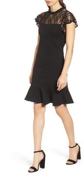 Bobeau Women's Lace Yoke Ruffled A-Line Dress