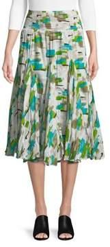 Context Pleated Brushstroke Collage Midi Skirt