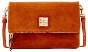 Dooney & Bourke Suede Foldover Zip Crossbody Shoulder Bag - AMBER - STYLE