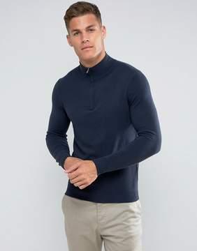 Benetton Half Zip 100% Merino Sweater In Navy