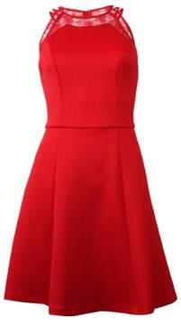 GUESS Women's Scuba Lace Neckline Dress (4, Red)