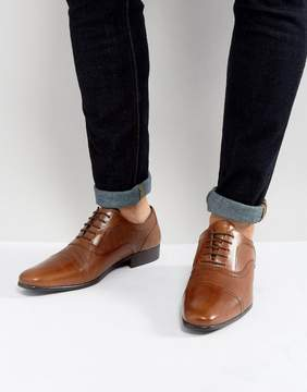 Red Tape Etched Lace Up Smart Shoes Tan