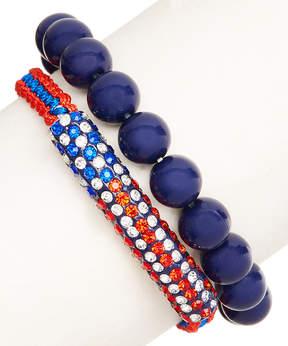 Carole Navy & Red Beaded Stretch Bracelet Set