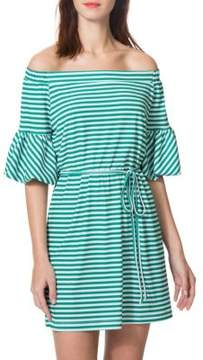 Donna Morgan Striped Off-the-Shoulder Dress