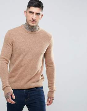Farah Rosecroft Lambswool Sweater in Camel