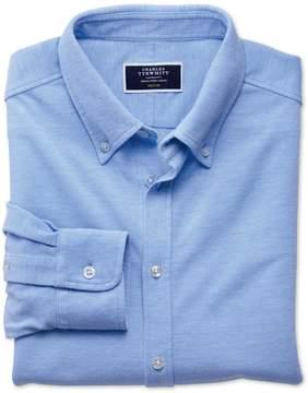 Charles Tyrwhitt Sky Blue Oxford Jersey Cotton Casual Shirt Size XL
