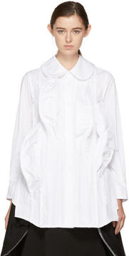 Comme des Garcons White 3D Mound Ruffled Shirt