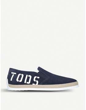 Tod's Tods Raffia logo suede skate shoes