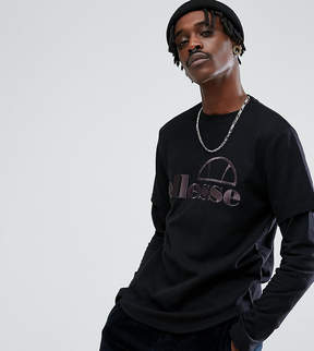 Ellesse Oversized Layered Long Sleeve T-Shirt With Logo In Black