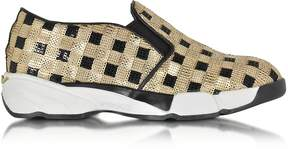 Pinko Sequins Gold Fabric Sneaker
