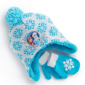Disney Disney's Frozen Toddler Girl Elsa & Anna Snowflake Trapper Hat & Mittens Set