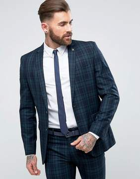Farah Skinny Suit Jacket In Check